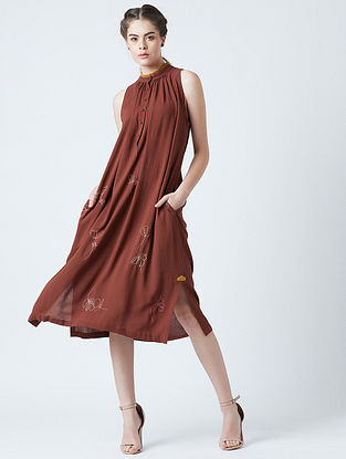 Grace Red Rayon Crepe Tunic with Embroidery