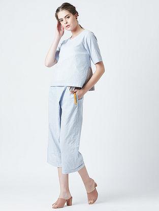 Manal Blue Grey Cotton Top