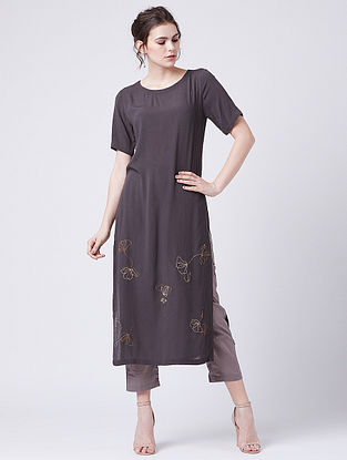 Tunic Grey Rayon Crepe Tunic with Hand Embroidery