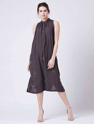Grace Grey Rayon Crepe Tunic with Embroidery