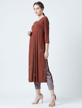 Hirsi Red Rayon Crepe Tunic with Kantha Detailing