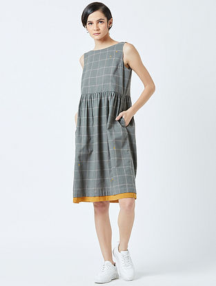 Grey Embroidered Handwoven Cotton Dress