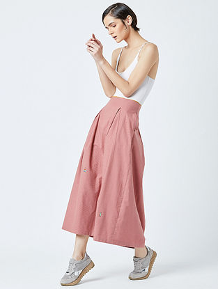Pink Embroidered Handwoven Cotton Skirt