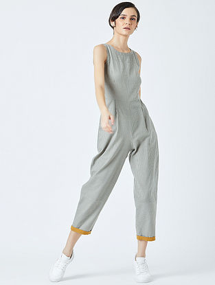Grey Embroidered Handwoven Cotton Jumpsuit