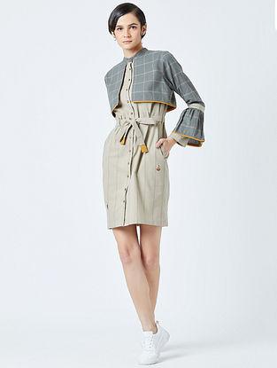 Grey Beige Embroidered Handwoven Cotton Dress