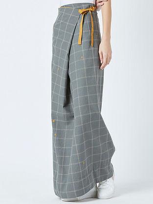 Grey Mustard Embroidered Handwoven Cotton Skirt