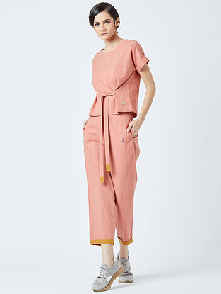 Orange Embroidered Handwoven Cotton Top
