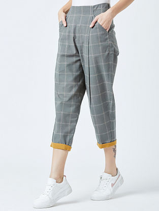 Grey Highwaisted Handwoven Cotton Pants with Embroidery