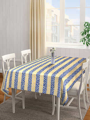 Yellow-Blue Jacquard Cotton 6 Seater Table Cover (87in x 62in)