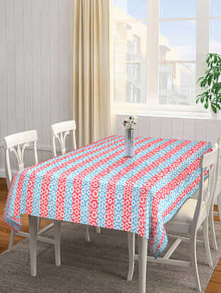 Red-Blue Jacquard Cotton 4 Seater Table Cover (62in x 61in)