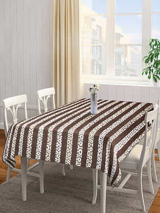 Brown Jacquard Cotton 6 Seater Table Cover (88in x 65in)