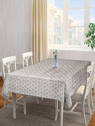 Grey Jacquard Cotton 6 Seater Table Cover (90in x 61in)