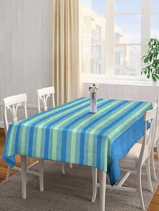 Blue-Green Jacquard Cotton 6 Seater Table Cover (92in x 63in)