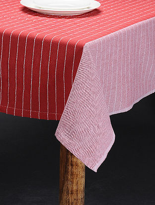 Red-White Cotton 4 Seater Table Cover(L:62in x W: 60in)