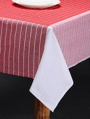 Red-White Cotton 6 Seater Table Cover(L:92in x W: 60in)