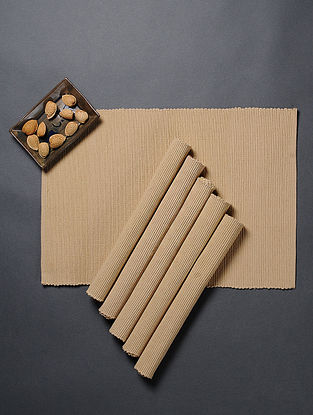 Beige Cotton Table Mats (Set Of 6)(L:18in x W: 13in)