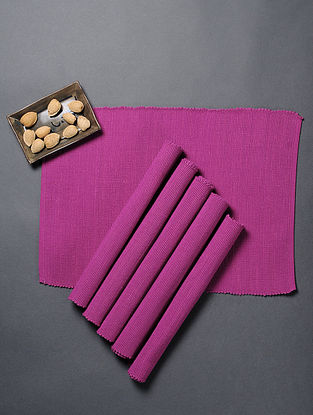 Pink Cotton Table Mats (Set Of 6)(L:18in x W: 13in)