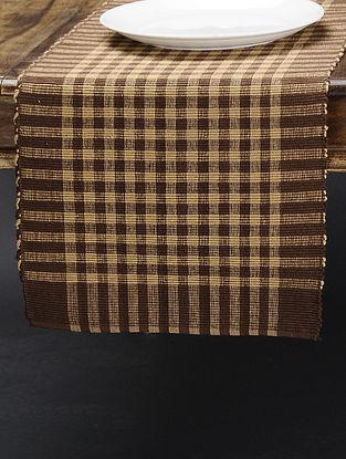 Brown-Beige Cotton Runner(L:70in x W: 13in)