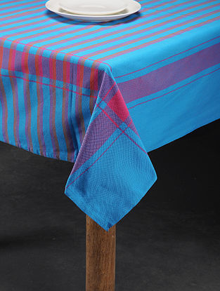 Mutlicolored Handwoven Cotton 4 Seater Table Cover (60in x 59in)
