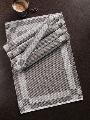 Brown Handwoven Cotton Table Mat (Set of 6) (19in x 12.5in)