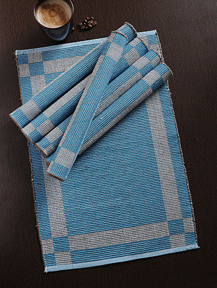 Blue Handwoven Cotton Table Mat (Set of 6) (18in x 13in)