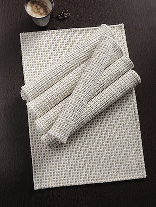 Beige Handwoven Cotton Table Mat (Set of 6) (18in x 12.5in)