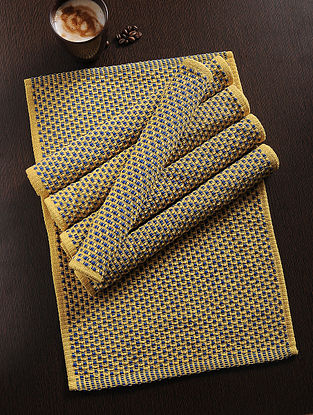 Yellow-Blue Handwoven Cotton Table Mat (Set of 6) (19in x 13in)