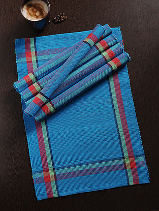 Multicolored Handwoven Cotton Table Mat (Set of 6) (18.5in x 13in)