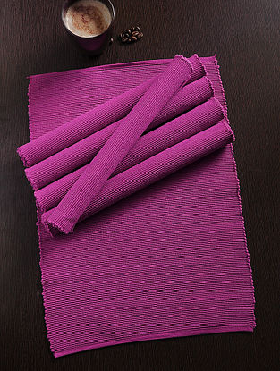 Magenta Handwoven Cotton Table Mat (Set of 6) (18in x 13in)