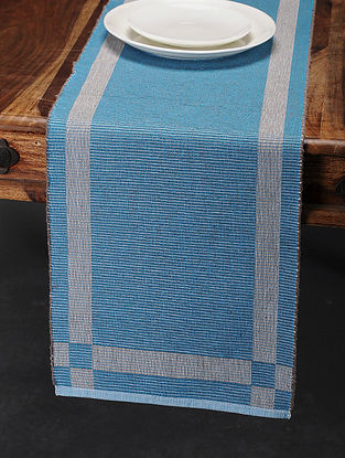 Blue Cotton Table Runner (68in x 13in)