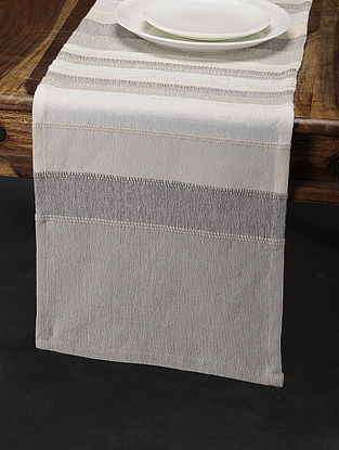 Beige Cotton Table Runner (76in x 13in)