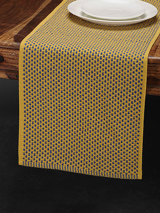 Yellow-Blue Cotton Table Runner (69in x 13in)