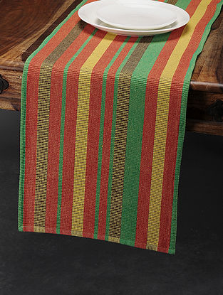Red-Green Cotton Table Runner (71in x 13.5in)