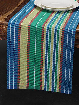 Green-Yellow Cotton Table Runner (73in x 13.5in)