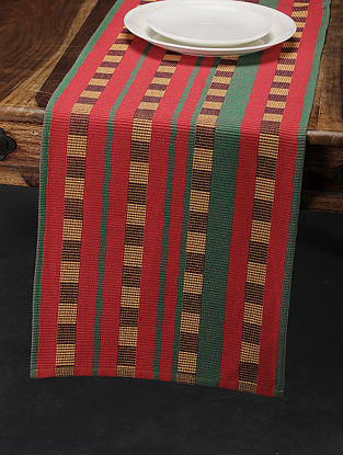 Maroon-Green Cotton Table Runner (72in x 13.5in)