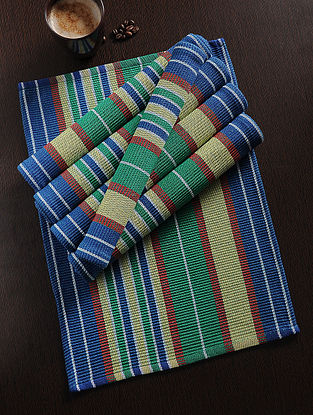 Multicolored Handwoven Cotton Table Mat (Set of 6) (18in x 13in)