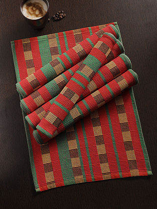 Multicolored Handwoven Cotton Table Mat (Set of 6) (18in x 13.5in)