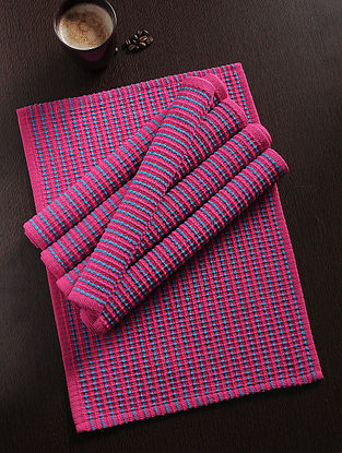 Pink Handwoven Cotton Table Mat (Set of 6) (18.5in x 13in)