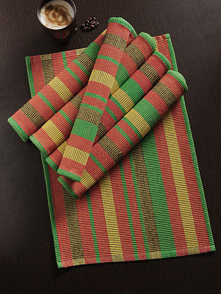 Red-Green Handwoven Table Mat (Set of 6) (18.5in x 13.5in)