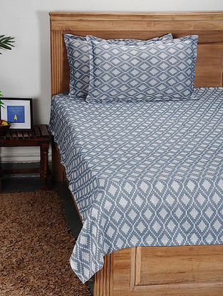 Blue Handwoven Cotton Double Bed Cover with Pillow Cover (Set of 3)