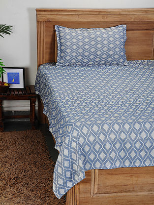 Blue-White Handwoven Cotton Single Bed Cover with Pillow Cover (Set of 2)
