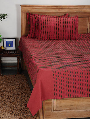 Red Handwoven Cotton Double Bed Cover with Pillow Cover (Set of 3)