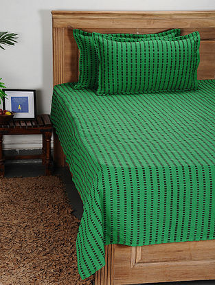 Green Handwoven Cotton Double Bed Cover with Pillow Cover (Set of 3)