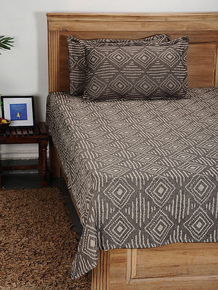 Grey Handwoven Cotton Double Bed Cover with Pillow Cover (Set of 3)