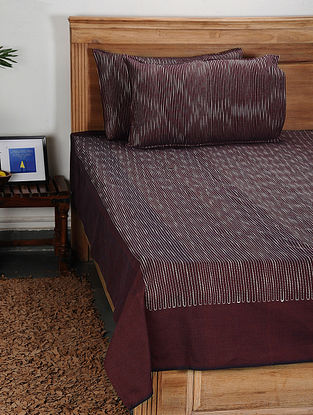 Wine Handwoven Cotton Double Bed Cover with Pillow Cover (Set of 3)