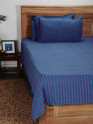 Purple Handwoven Cotton Double Bed Cover with Pillow Cover (Set of 3)