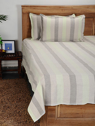 Multicolored Handwoven Cotton Double Bed Cover with Pillow Cover (Set of 3)