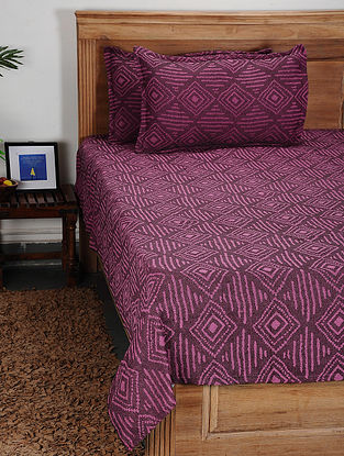 Pink Handwoven Cotton Double Bed Cover with Pillow Cover (Set of 3)