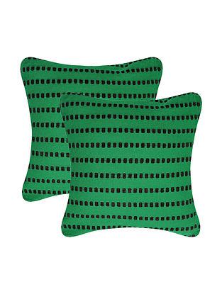 Green-Black Cotton Cushion Cover (Set of 2) Cushion Cover