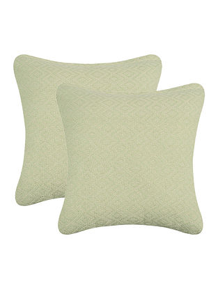 Green Cotton Cushion Cover (Set of 2) (16in x 16in)